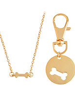 Lovely 2pcs/set Dog Bone Best Friends Charm Necklace Keychain BFF Bones