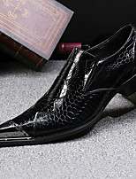 Men's Oxfords Formal Shoes Nappa Leather Fall Winter Casual Party & Evening Dress Hiking Metallic toe Black 1in-1 3/4in