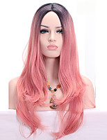 Middle Long  Wavy Synthetic Omber Cherry Pink Two Tone Color Synthetic Women Cosplay Wigs