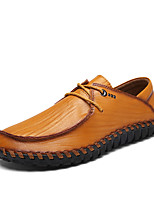 Men's Loafers & Slip-Ons Comfort Cowhide Leather Spring Fall Casual Office & Career Party & Evening Lace-up Flat HeelDark Brown Yellow