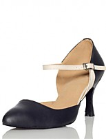 Women's Latin Real Leather Sandals Performance Buckle Stiletto Heel Black 3