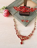 Women's Necklace Front Back Earrings Rhinestone Geometric Rhinestone Alloy Crown For Wedding Wedding Gifts