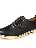 Men's Oxfords Comfort PU Spring Fall Casual Lace-up Flat Heel Navy Blue Orange Black Flat