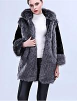 Manteau en Fourrure Femme,Couleur Pleine Décontracté / Quotidien simple Hiver Manches ¾ Capuche Longue Fourrure de renard