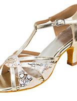 Для женщин Латина Искусственная кожа Сандалии Концертная обувь С пряжкой Кубинский каблук Бежевый 5 - 6,8 см Персонализируемая