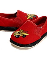 Girls' Loafers & Slip-Ons Walking Vulcanized Shoes Flocking Fall Winter Casual Dress Applique Gore Flat Heel Ruby Flat