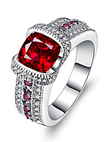 Women's Band Rings Ruby AAA Cubic Zirconia Vintage Luxury  Silver Ring Jewelry For Wedding Engagement Ceremony Evening Party