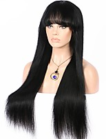 Hot Sale Silky Straight Lace Front Wig With Bangs 8-26 Inch 130% Density Virgin Brazilian Human Hair Glueless 13x6 Deep Parting Lace Front Wig