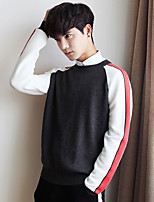 Men's Going out Casual/Daily Short Pullover,Solid Color Block Round Neck Long Sleeves Cotton Others Spring Fall Thin Inelastic