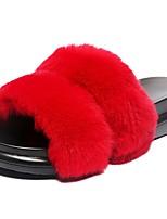Для женщин Тапочки и Шлепанцы Удобная обувь Осень Кожа / мех Для праздника Микропоры Черный Серый Военно-зеленный Красный 4,5 - 7 см