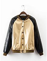 Для женщин Спорт На выход На каждый день Осень Зима Кожаные куртки Воротник-стойка,Простой Уличный стиль Контрастных цветов Обычная