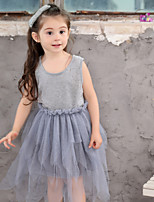 Girl's Cotton Fashion And Lovely Temperamental Cartoon Leopard Print Short Sleeves Princess Dress