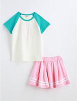 Girls' Color Block Sets,Cotton Summer Short Sleeve Clothing Set