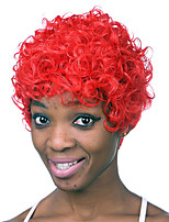 Kinky Curly Synthetic Wigs For Black Women Short Red Color African American Wig