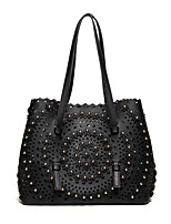 Women Bags All Seasons PU Shoulder Bag with Rivet for Casual Sports Outdoor Office & Career White Black Red Blushing Pink