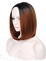 Парики из искусственных волос Без шапочки-основы Средний Прямые Черный / Medium Auburn Стрижка боб Парик из натуральных волос