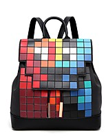Women Bags All Seasons PU Backpack with for Casual Rainbow