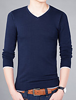 Men's Plus Size Casual Slim V-Neck Solid Color 100% Cotton Pullover