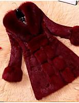 Women's Casual/Daily Simple Fall Winter Fur Coat,Solid Peter Pan Collar Long Sleeve Long Fox Fur