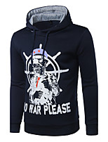 Men's Casual/Daily Simple Hoodie Print Hooded Micro-elastic Cotton Polyester Long Sleeve Spring Fall