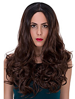 Cheap Heat Realistic Long Wavy Wig Ombre Brown Color Glueless Synthetic Wig for Women