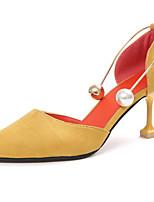 Mujer Tacones Talón Descubierto PU Verano Casual Vestido Hebilla Tacón Stiletto Negro Amarillo 2'5 - 4'5 cms