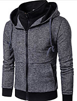 Men's Going out Casual/Daily Hoodie Solid Hooded Inelastic Cotton Long Sleeve Fall Winter