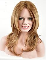 Парики из искусственных волос Без шапочки-основы Средний Клубничный блондин Парик из натуральных волос Карнавальные парики