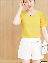 Women's Going out Casual/Daily Simple Cute Summer Blouse,Solid Round Neck Short Sleeve Others Thin