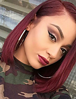 Brazilian Virgin Hair Glueless Lace Front Wig Straight Hair Burgundy Color Short Bob Human Hair Wig for Woman 130% Density