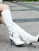 Women's Shoes PU Fall Winter Comfort Boots Stiletto Heel Round Toe For Casual White Black