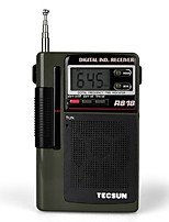 R-818 Rádio portátil Radio FM Alto Falante Embutido Relogio Despertador Castanho Claro