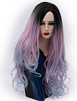 Women Synthetic Wig Capless Long Natural Wave Purple/Blue Ombre Hair Natural Wig Party Wig Halloween Wig Carnival Wig Costume Wigs