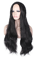 Women Synthetic Wig Capless Long Wavy Dark Black Side Part Natural Wig Costume Wigs