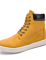 Men's Boots Combat Boots Fall Winter Leatherette Casual Outdoor Lace-up Low Heel Yellow Black 3in-3 3/4in