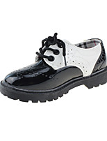 Girls' Flats Comfort Leatherette Spring Fall Wedding Casual Party & Evening Dress Low Heel Black/White Black Flat