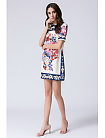 STEPHANIE Women's Going out Casual/Daily Simple Chinoiserie Shift Sheath DressPrint Round Neck Knee-length Short Sleeve Silk Summer Mid Rise