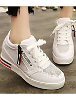 Women's Sneakers Comfort Spring Fall PU Casual Silver Black White Flat