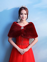 Women's Wrap Capelets Faux Fur Wedding Party/ Evening Rhinestone
