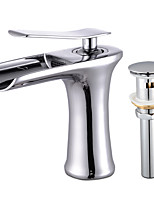 Modern/Comtemporary Deck Mounted Waterfall with  Ceramic Valve Single Handle One Hole for  Chrome , Bathroom Sink Faucet