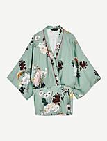 Для женщин На выход На каждый день Лето Блуза V-образный вырез,Секси Простое Уличный стиль Цветочный принт Вышивка Длинный рукав,Хлопок