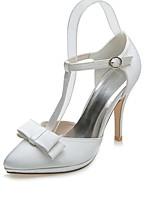 Feminino Sapatos De Casamento Sapatos formais Primavera Verão Cetim Casamento Festas & Noite Laço Salto Agulha Prata Ivory 10 a 12 cm