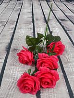 1 Rama Plástico Rosas Flor de Suelo Flores Artificiales