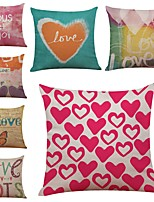 Set of 7 Love Pattern Linen  Cushion Cover Home Office Sofa Square  Pillow Case Decorative Cushion Covers Pillowcases