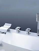 Contemporary Design Widespread Waterfall Handshower Included with Three Handles Five Holes for  Chrome  Bathtub Faucet