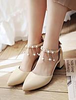 Mujer Zapatos PU Primavera Verano Confort Tacones Para Casual Blanco Negro Almendra Rosa claro
