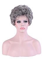 жен. Парики из искусственных волос Без шапочки-основы Короткий Кудрявые Серый Парик из натуральных волос Карнавальные парики