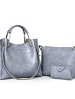 Women Bags All Seasons PU Bag Set with Zipper for Casual Outdoor Office & Career Black Red Gray Brown