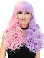 Femme Perruque Synthétique Sans bonnet Long Frisés Rose / Violet Perruque Naturelle Perruque Halloween Perruque de fête Perruque de