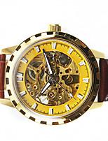 Муж. Модные часы Механические часы Механические, с ручным заводом Кожа Группа Черный Коричневый